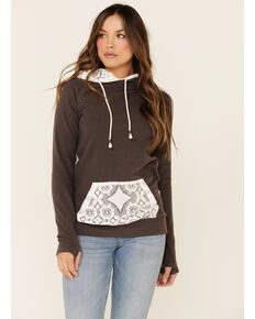 Ampersand Avenue Women's Charcoal Lace Contrast Hoodie , Charcoal, hi-res