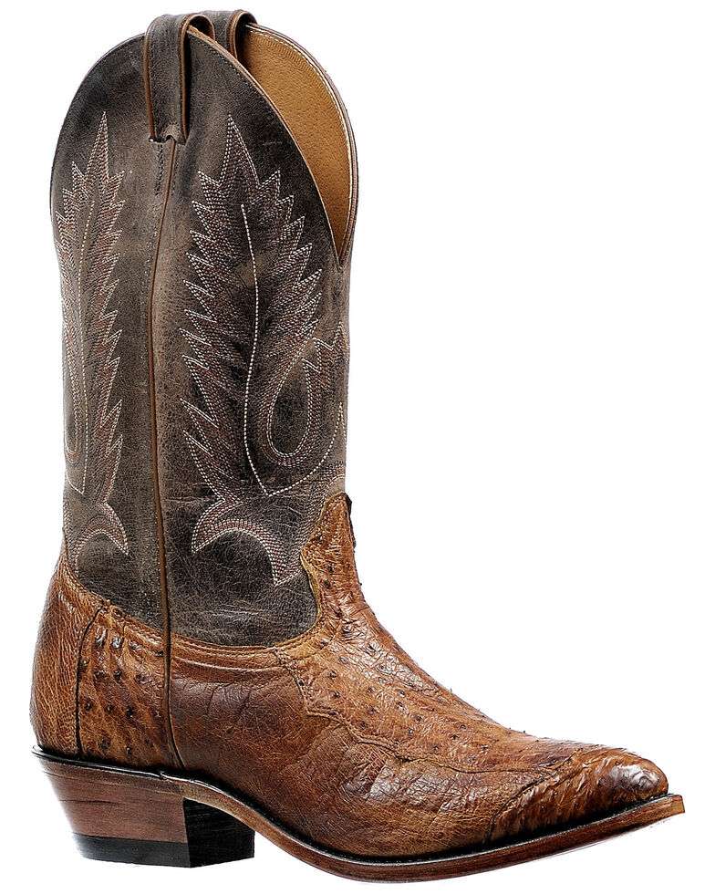 Boulet Men's Brown Ostrich Western Boots - Round Toe, Brown, hi-res