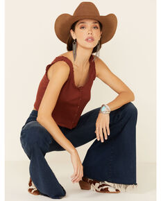 Eyeshadow Women's Rust Ribbed Button-Down Crop Tank Top , Rust Copper, hi-res