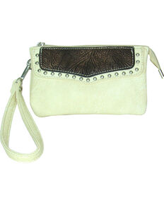 Savana Women's Faux Leather Clutch Zip Wristlet *DISCONTINUED*, Cream, hi-res