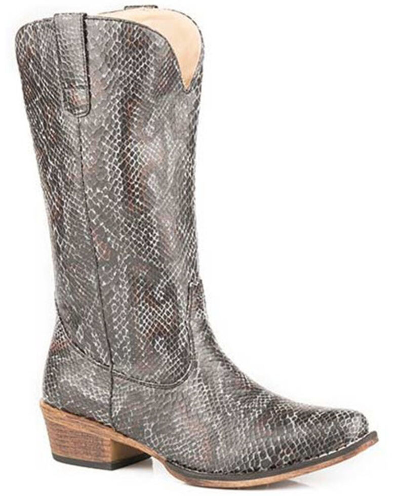 Roper Women's Riley Snake Print Western Boots - Snip Toe, Black, hi-res
