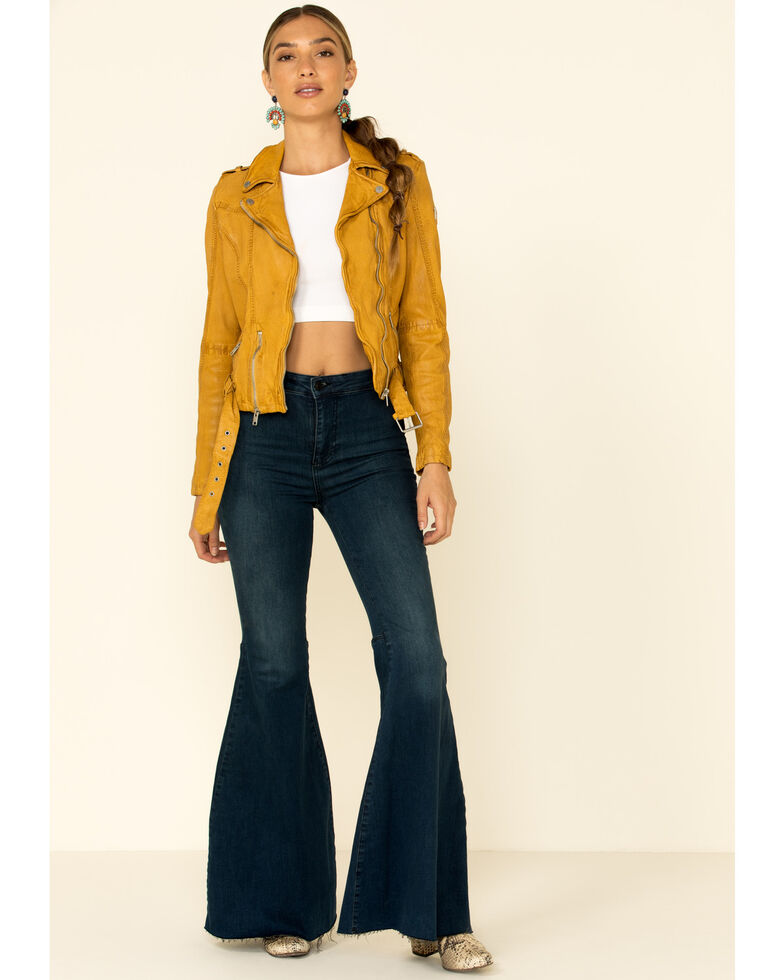 Mauritius Leather Women's Wild Moto Leather Jacket , Mustard, hi-res
