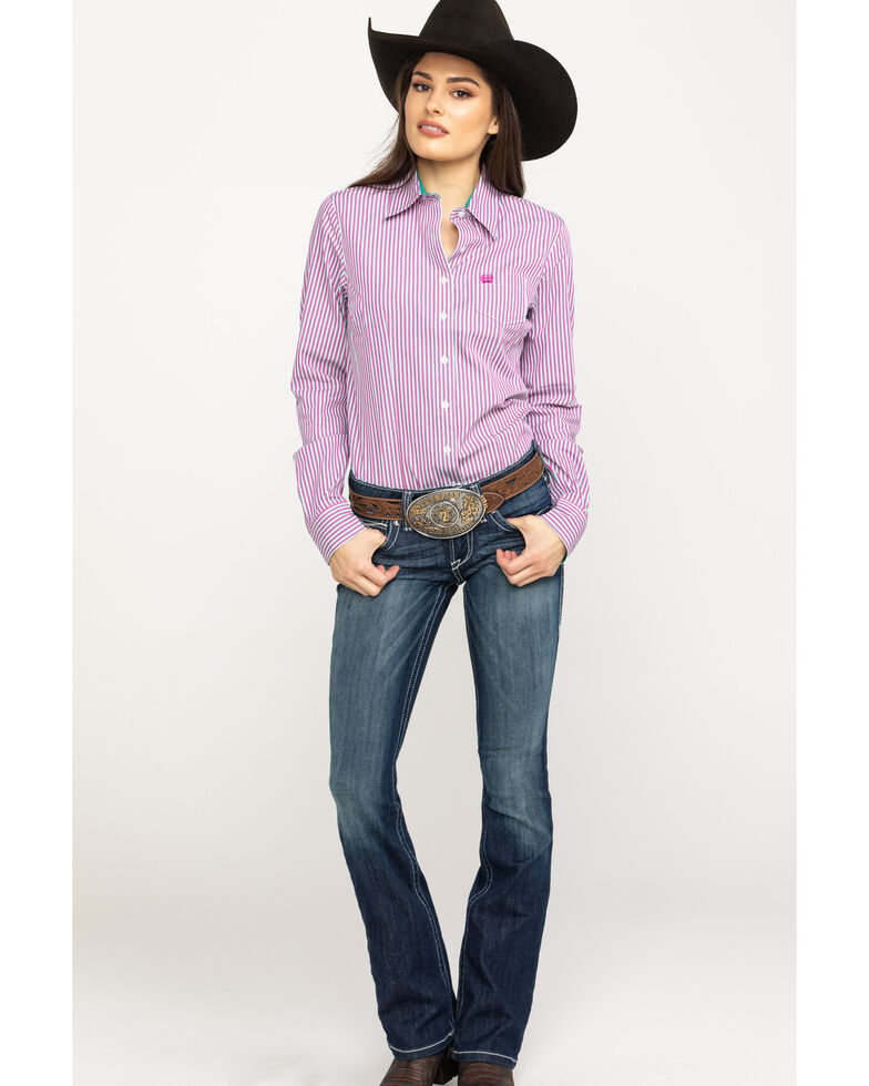 Cinch Women's Purple Stripe Button Core Long Sleeve Western Shirt, Purple, hi-res