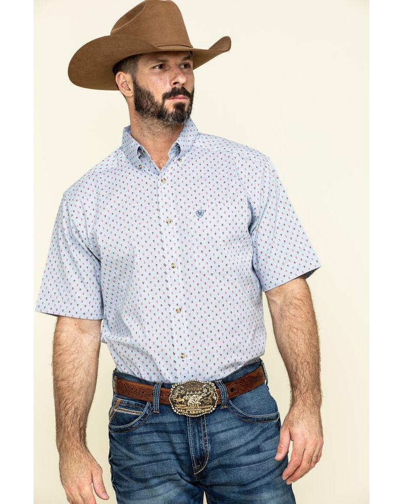 Ariat Men's Stanford Geo Print Short Sleeve Western Shirt , Blue, hi-res