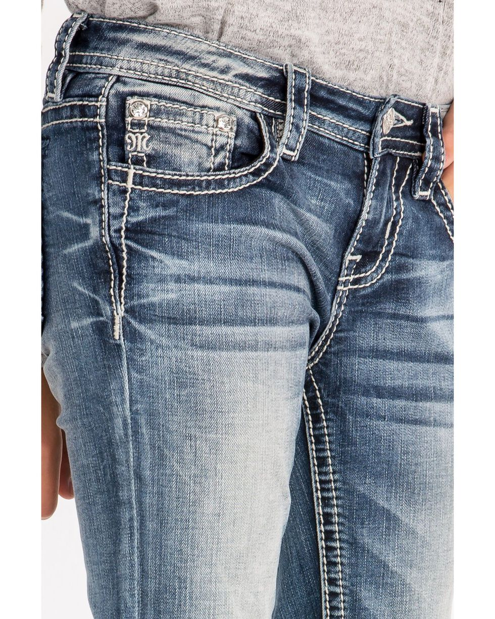 Miss Me Girls' Lucky Horseshoe Boot Cut Jeans, Blue, hi-res