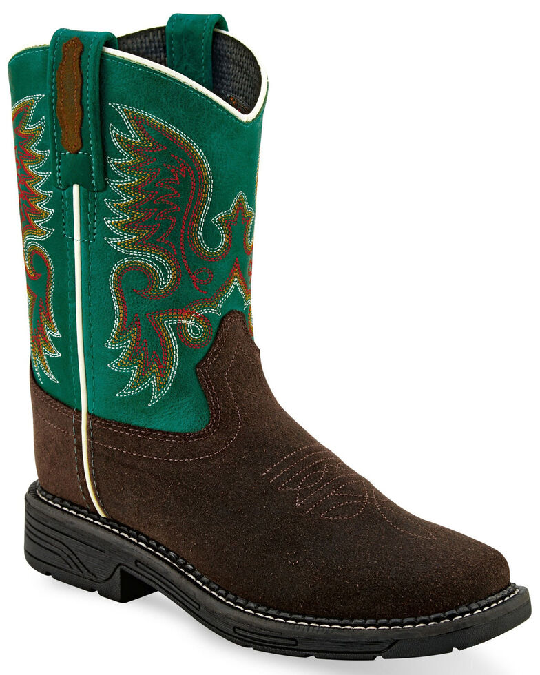 """Old West Boys' 8"""" Western Boots - Square Toe, Brown, hi-res"""
