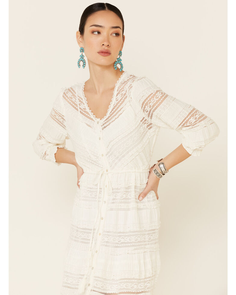 Coco + Jaimeson Women's Ivory Lace Inset Button Maxi Dress, Ivory, hi-res