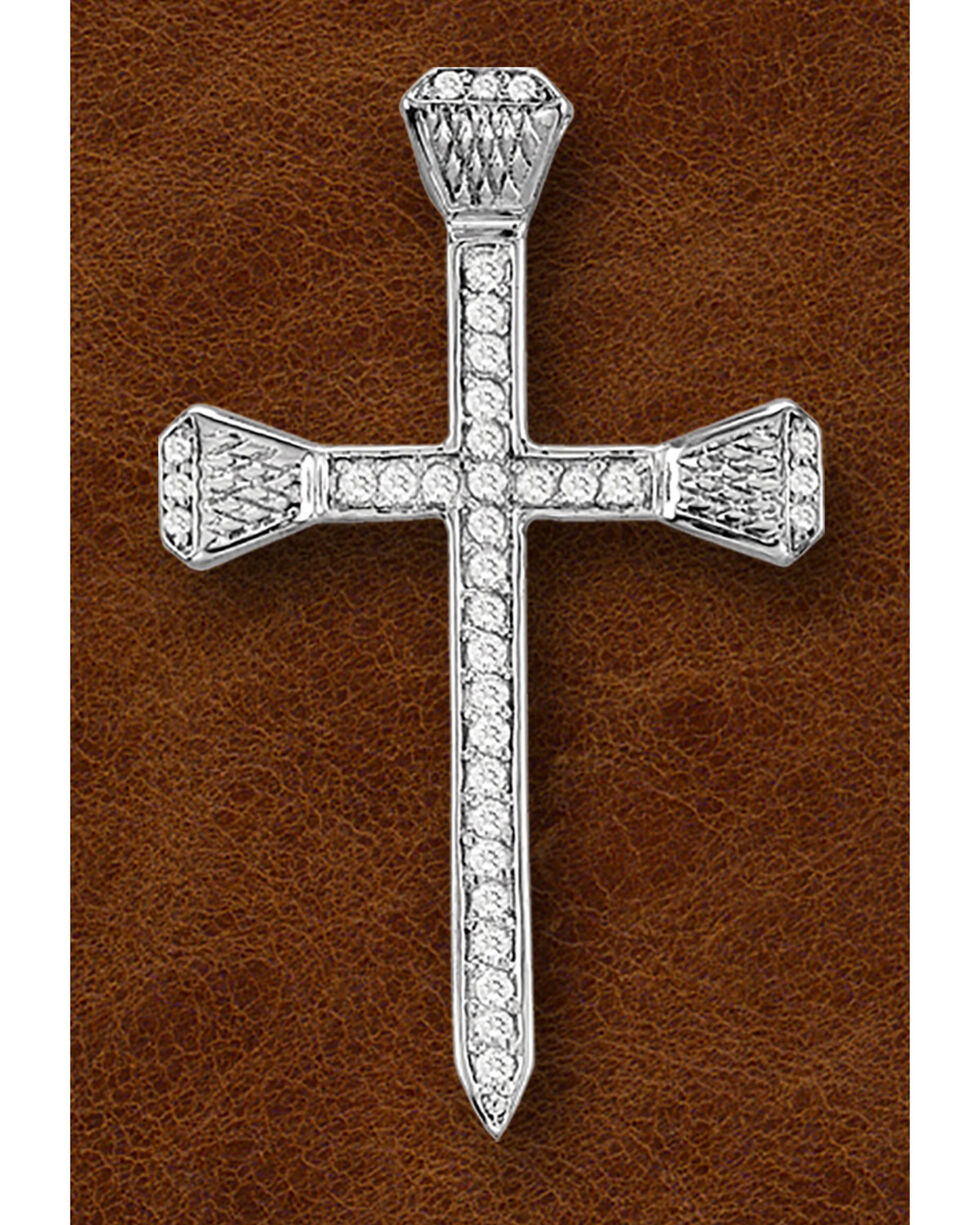 Kelly Herd Sterling Silver Pavé Nail Cross Necklace, Silver, hi-res