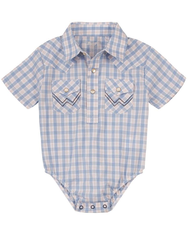 Wrangler Infant Boys' White & Blue Plaid Short Sleeve Snap Western Onesie , White, hi-res