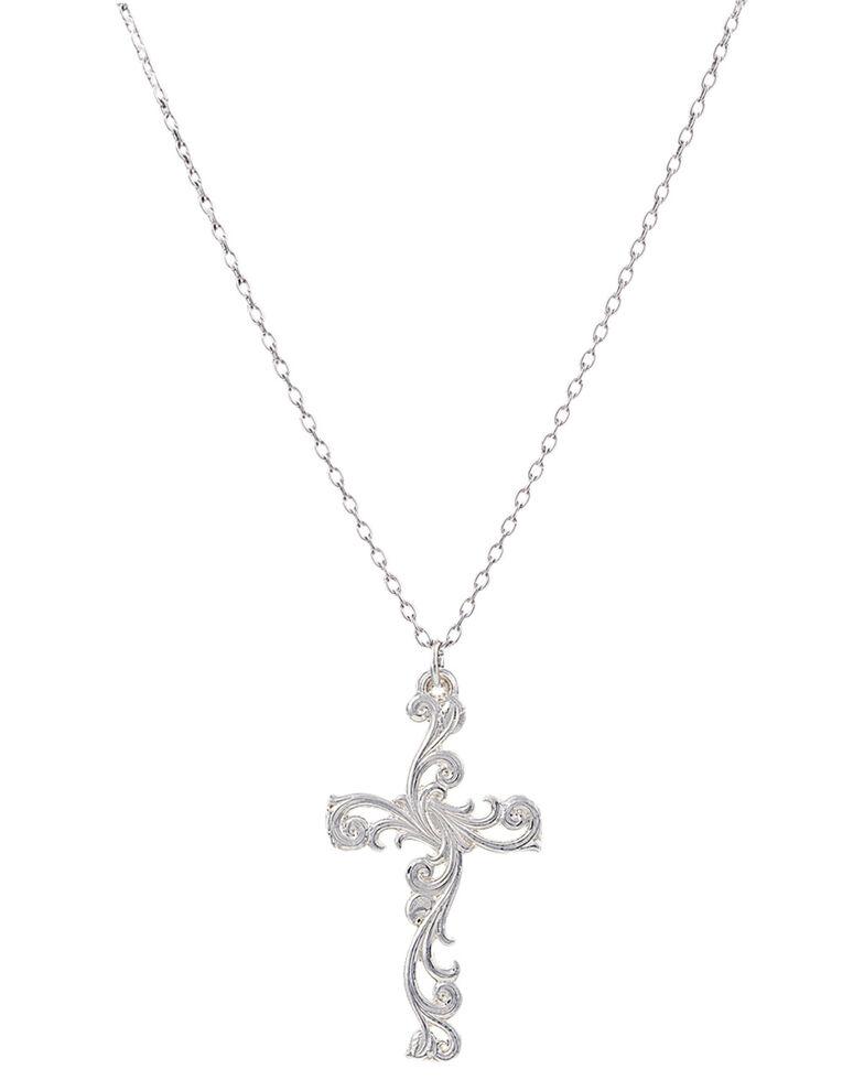 Montana Silversmiths Women's Filigree Silver Cross Necklace, Silver, hi-res