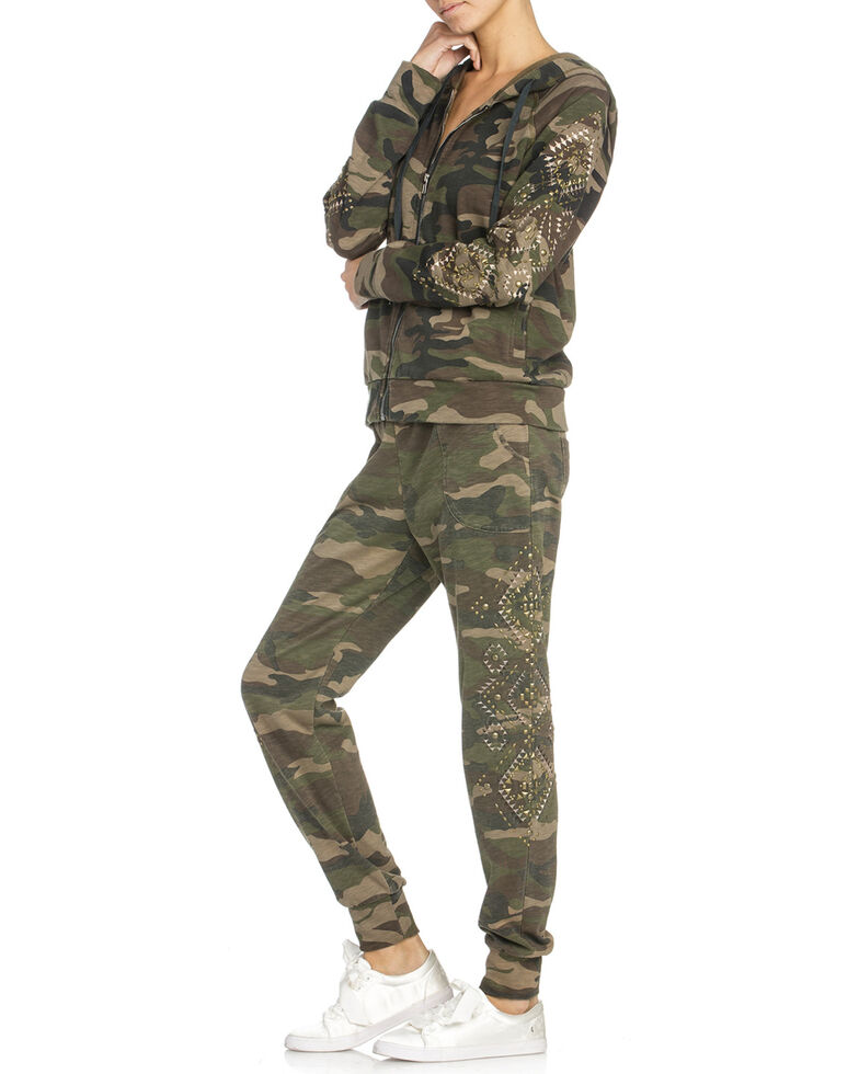 Miss Me Women's Camo Stud Embellished Hoodie , Camouflage, hi-res