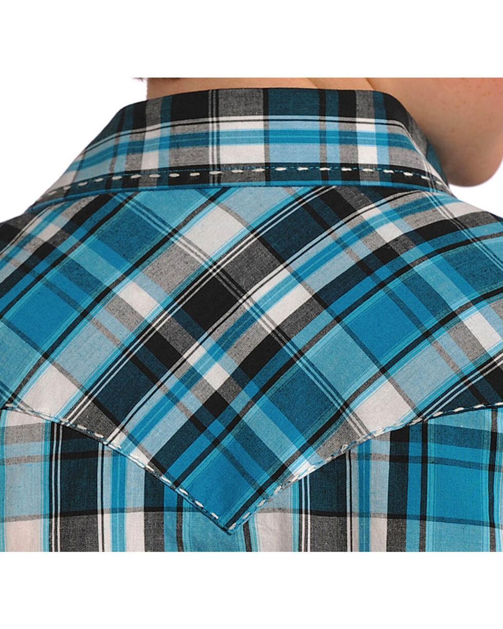 Panhandle Boys' Plaid Long Sleeve Shirt, Turquoise, hi-res
