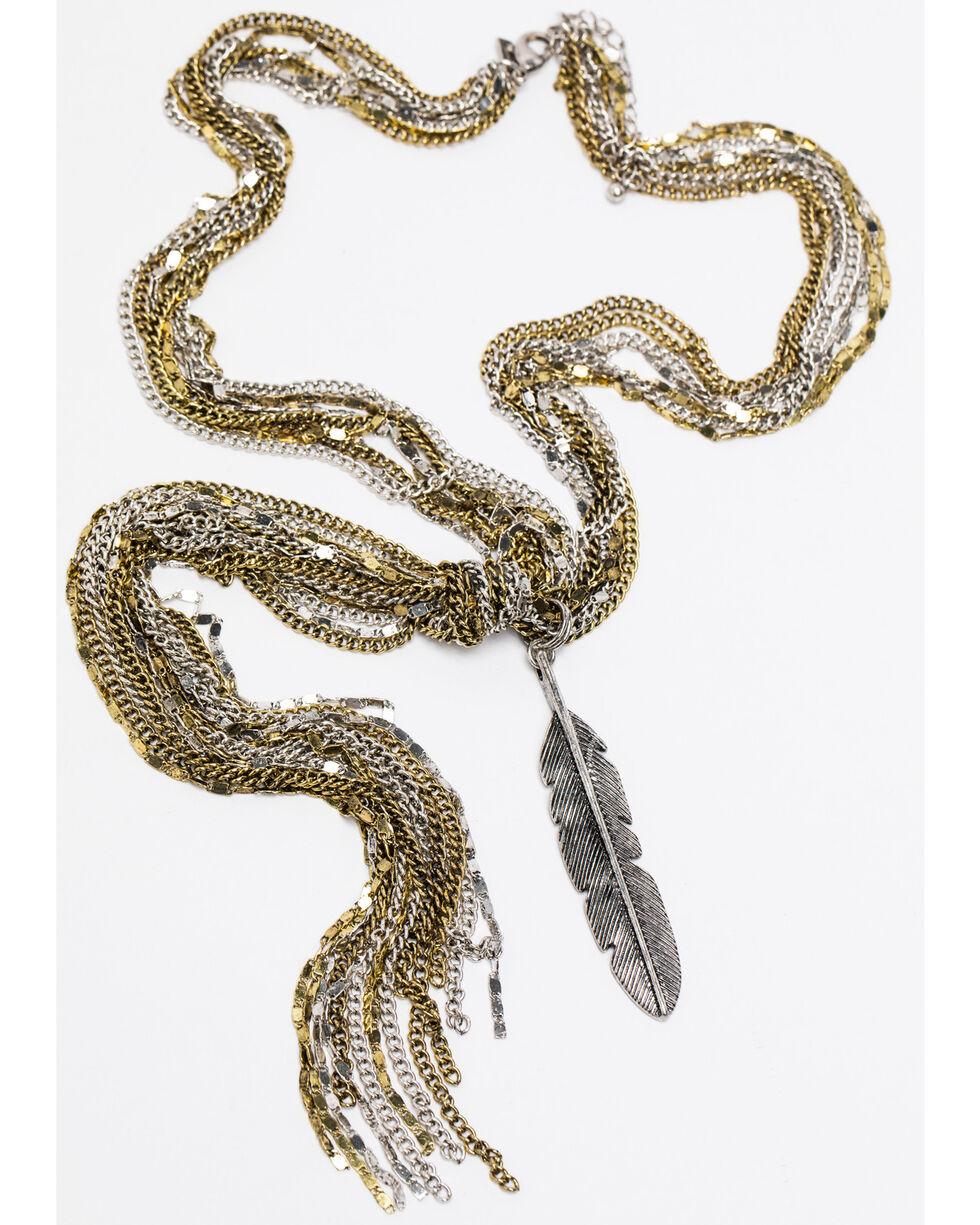 Shyanne Women's Fancy Lariat Feather Charm Necklace , Silver, hi-res