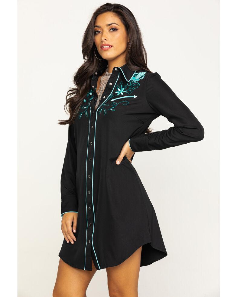 Old West Women's Black Embroidered Long Sleeve Western Shirt Dress, Black, hi-res