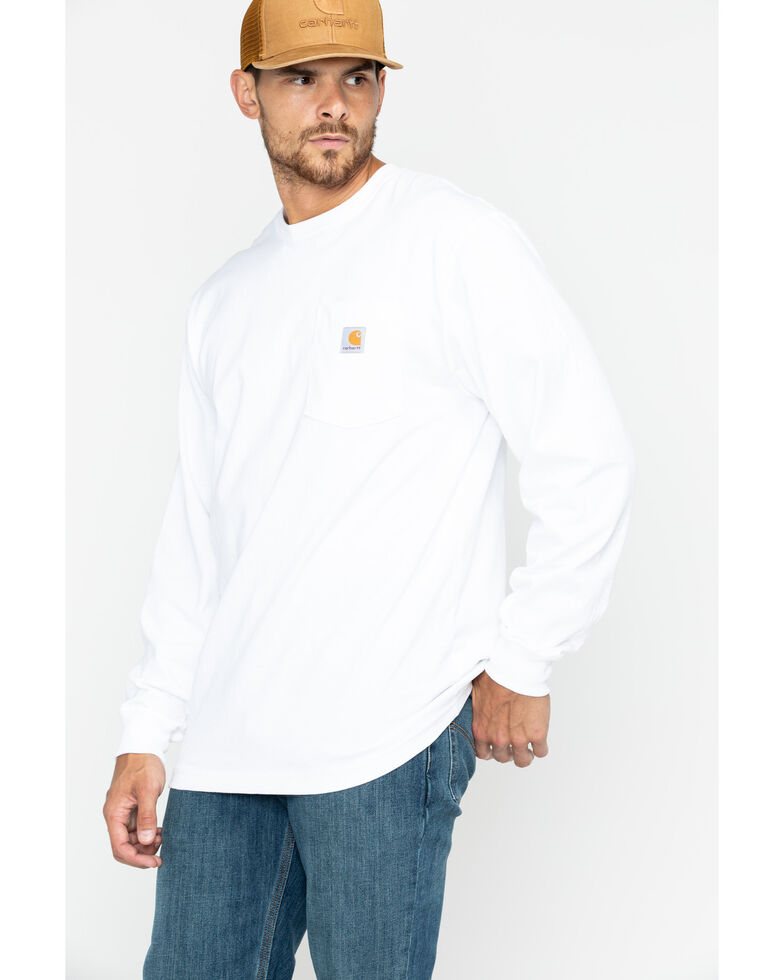 Carhartt Men's Workwear Long-Sleeve Pocket T-Shirt - Big, White, hi-res