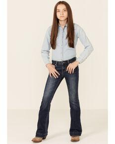 Rock & Roll Denim Girls' Dark Vintage Wash Extra Stretch Trouser Jeans , Dark Blue, hi-res
