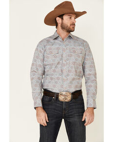 Wrangler Retro Men's Large Medallion Geo Print Long Sleeve Western Shirt , Multi, hi-res