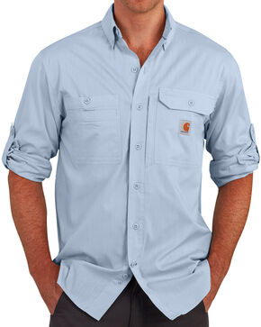 Carhartt Men's Light Blue Force Ridgefield Solid Long-Sleeve Shirt - Big and Tall , Light Blue, hi-res
