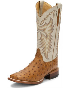 Justin Men's Pascoe Full-Quill Ostrich Western Boots - Wide Square Toe, Brown, hi-res