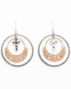 Shyanne Women's Hidden Treasure Filigree Hoop With Cross Charm Earrings, Silver, hi-res