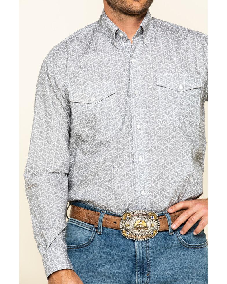 Roper Men's Amarillo Smoke Medallion Geo Print Long Sleeve Western Shirt , Grey, hi-res