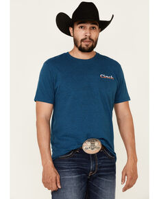 Cinch Men's Blue Authentic Logo Graphic T-Shirt , Blue, hi-res