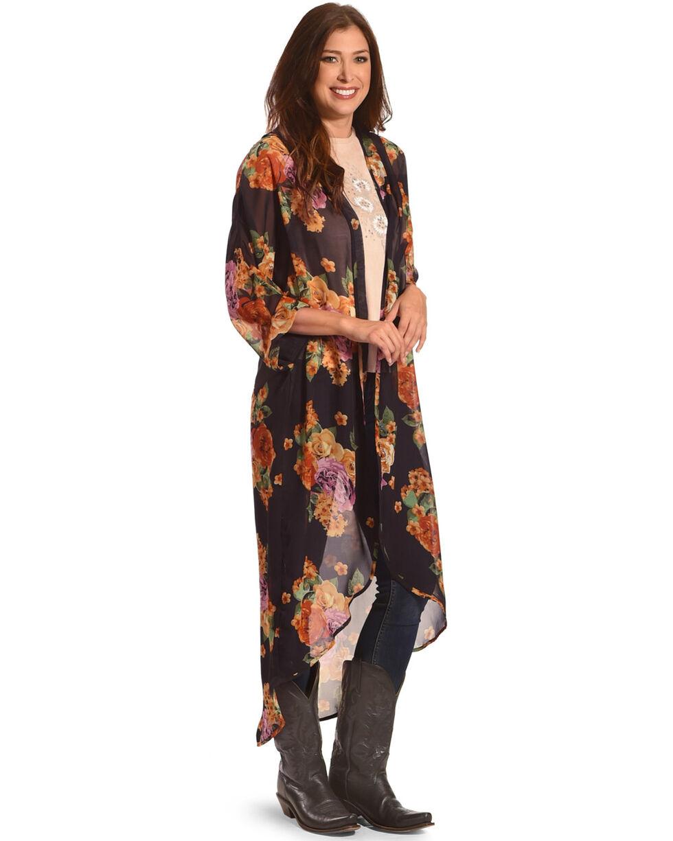 American Attitude Women's Floral Chiffon Kimono, Black, hi-res