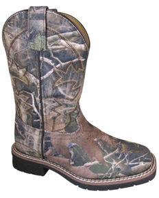 Smoky Mountain Boys' Wilderness Western Boots - Square Toe, Camouflage, hi-res