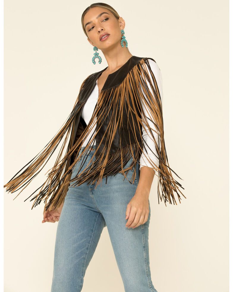 Cripple Creek Women's Whiskey Open Front Long Fringe Vest , Cognac, hi-res