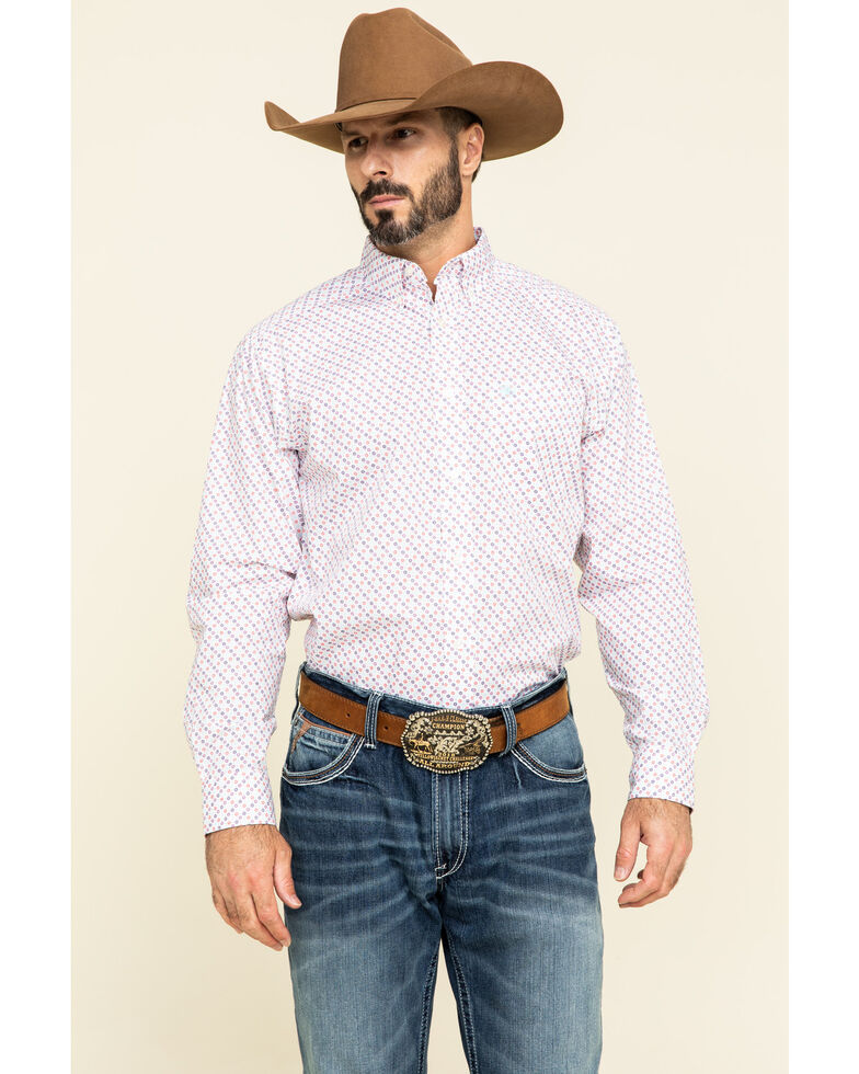 Ariat Men's Inman Small Geo Print Long Sleeve Western Shirt - Tall , White, hi-res