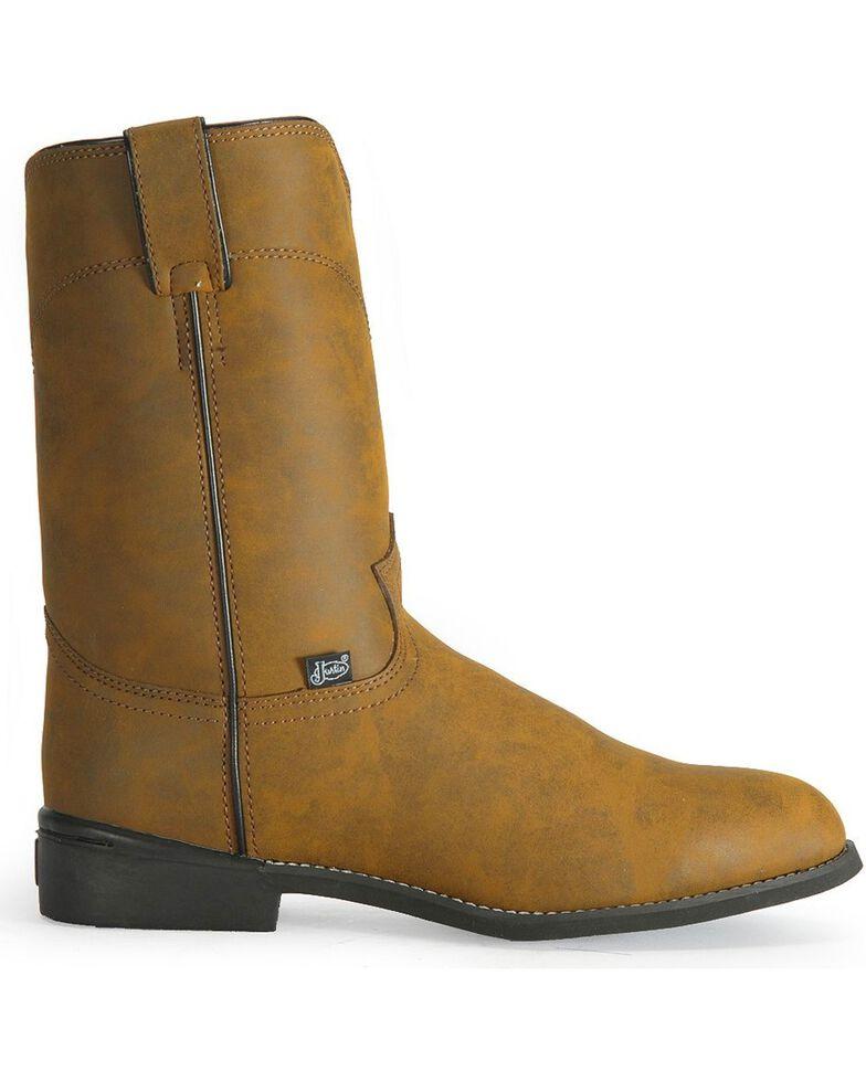 Justin Basics Roper Cowboy Boots - Round Toe, Bay Apache, hi-res