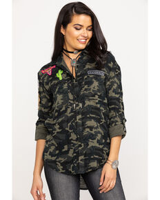 Rock & Roll Cowgirl Women's Camo Patch Long Sleeve Top, Camouflage, hi-res
