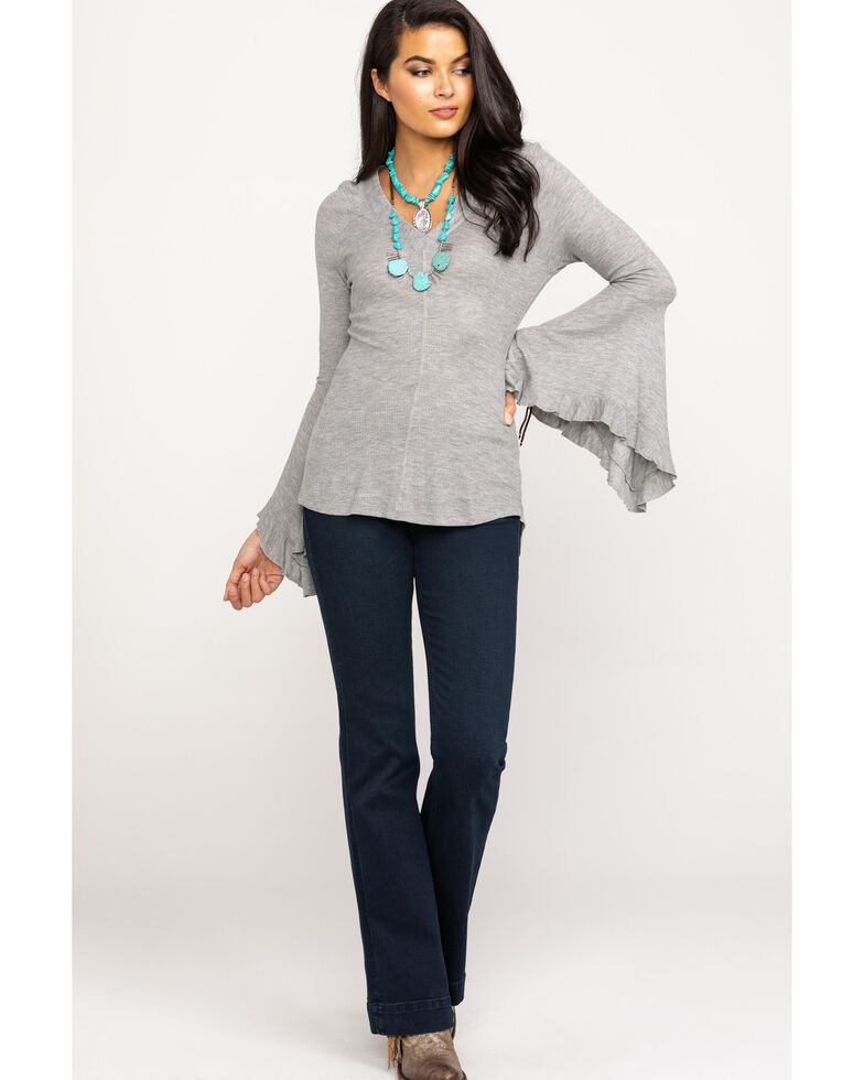 Red Label by Panhandle Women's Grey V-Neck Waffle Knit Bell Sleeve Top, Grey, hi-res