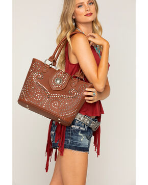 Shyanne Women's Rhinestone Swirl Concealed Carry Tote, Brown, hi-res
