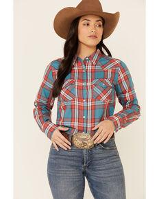 Wrangler Women's Teal Plaid Long Sleeve Western Core Shirt , Teal, hi-res