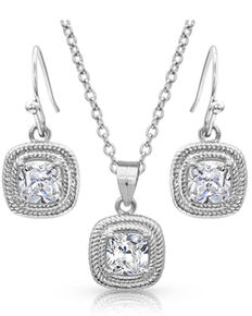 Montana Silversmiths Women's Squarely Brilliant Wrapped Jewelry Set, Silver, hi-res