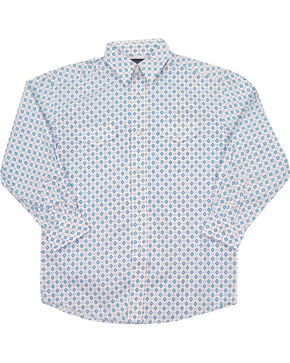 Panhandle Boys' Aztec Long Sleeve Shirt , White, hi-res