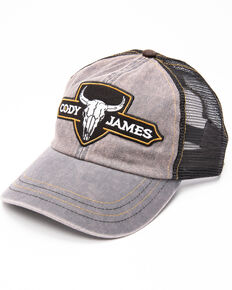 Cody James Men's Bull Skull Patch Trucker Cap , Grey, hi-res