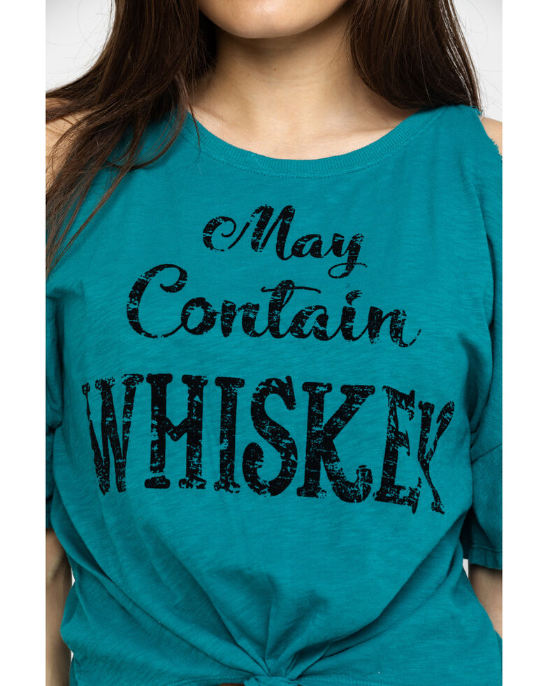 Shyanne Women's Teal May Contain Whiskey Cold Shoulder Tee, Teal, hi-res