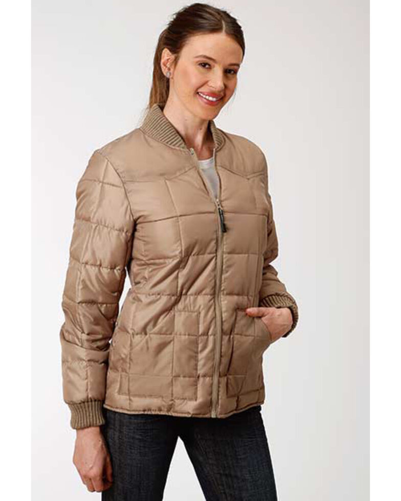 Roper Women's Brown Poly Window Pane Quilted Jacket , Brown, hi-res