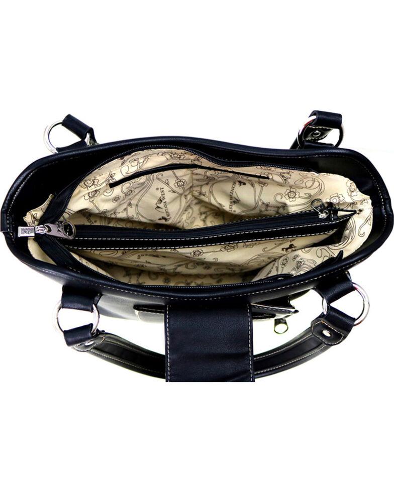 Montana West Women's Genuine Tooled Leather Concealed Carry Handbag , Black, hi-res