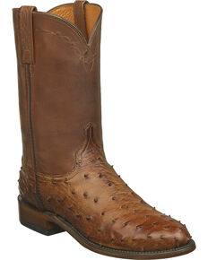 Lucchese Men's Handmade Zane Full Quill Ostrich Roper Boots - Round Toe, Brown, hi-res