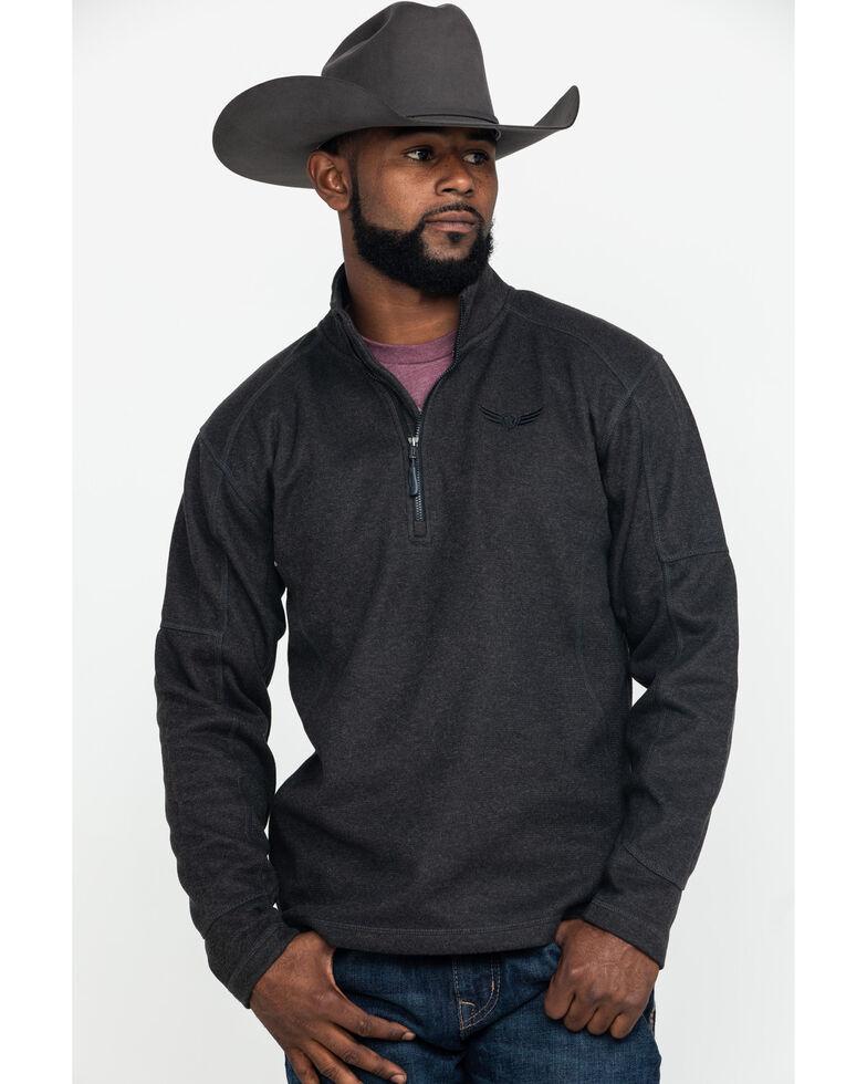 Ariat Men's Mustang 1/4 Zip Pullover Sweatshirt , Charcoal, hi-res