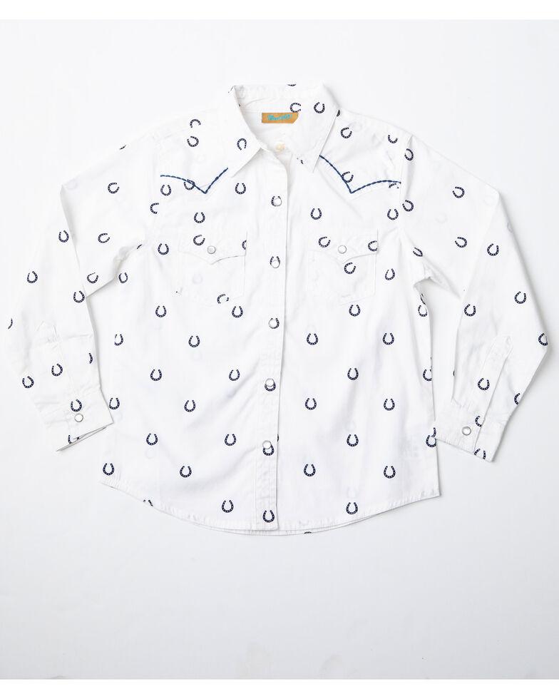 72d52ff0 Zoomed Image Wrangler Girls' Horseshoe Print Long Sleeve Western Shirt,  White, hi-res