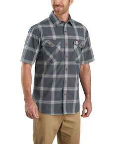 Carhartt Men's Grey Rugged Flex Bozeman Plaid Short Sleeve Work Shirt , Grey, hi-res