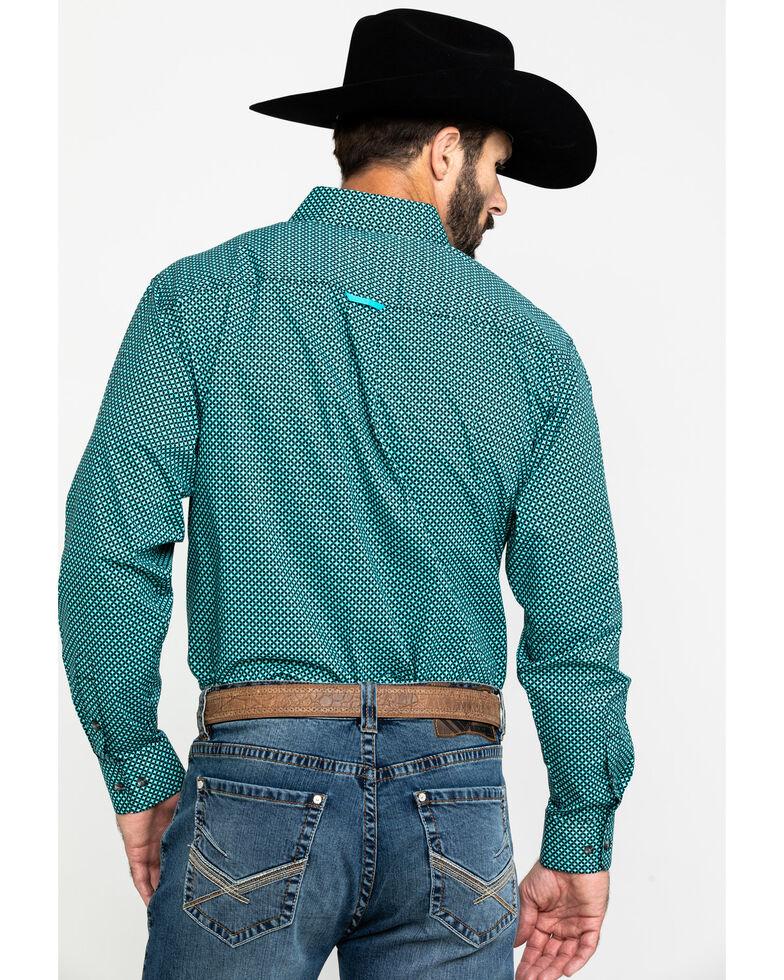 Tuf Cooper Men's Jade Stretch Geo Print Long Sleeve Western Shirt , Jade, hi-res