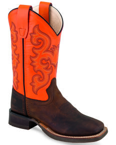 Old West Youth Boys' Orange Western Boots  - Wide Square Toe, Multi, hi-res