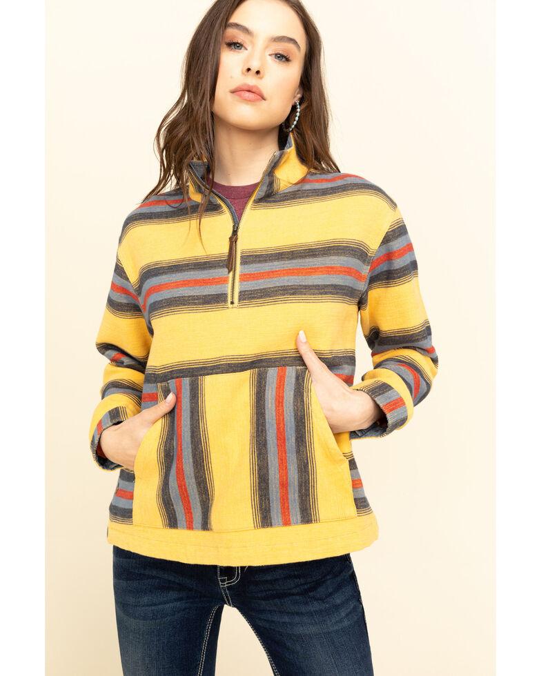 Pendleton Women's Gold Stripe Half Zip Pullover, Gold, hi-res