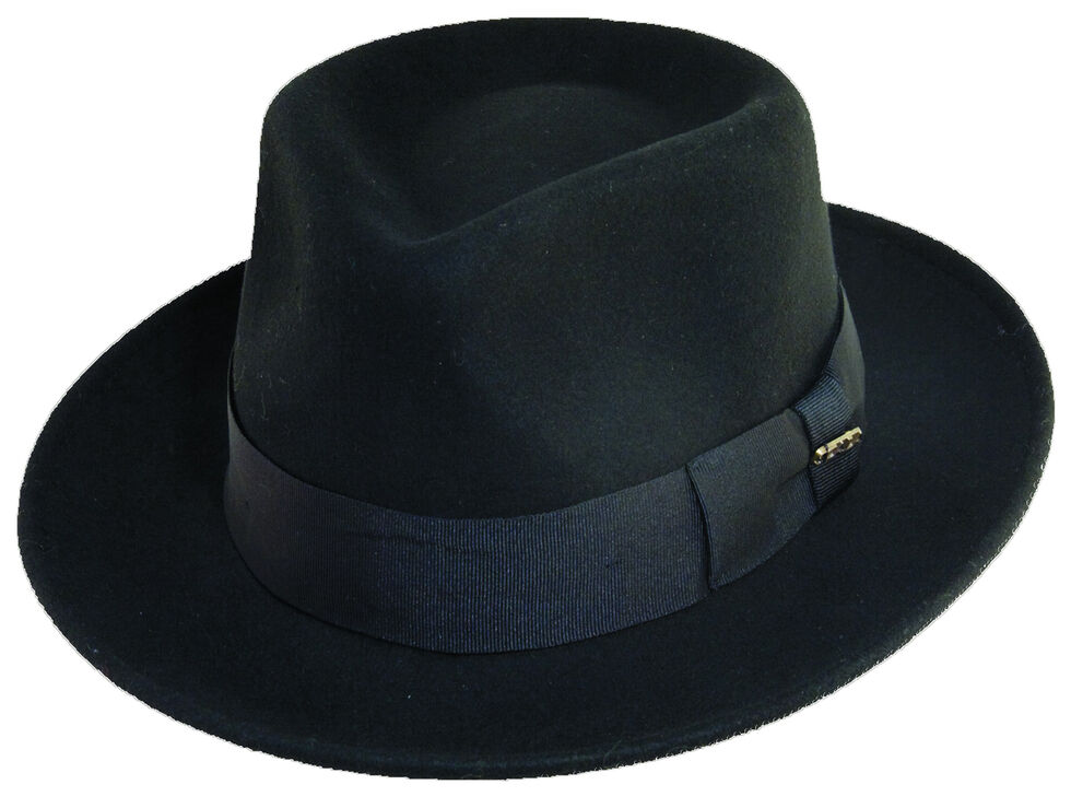 Scala Fashion Black Wool Felt Fedora Hat, Black, hi-res