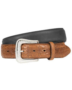 Wrangler Men's Crazyhorse Bison Leather Belt, Black, hi-res
